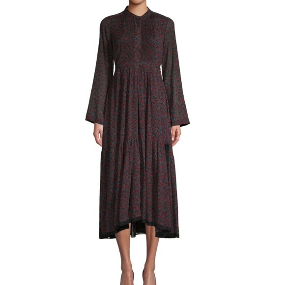 9d134e522a Chloe Crepon Tie-Waist Long Sleeve Midi Dress NWT